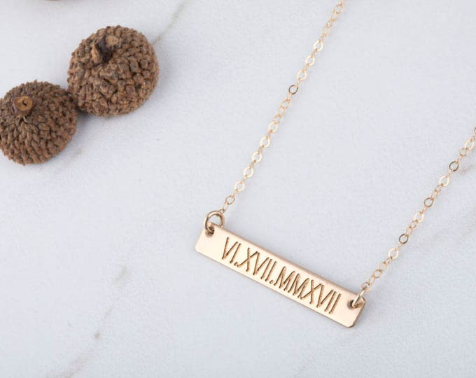 Personalized Name bar necklace,Contemporary Bridesmaid's jewelry, Initial Rectangle necklace,engraved Necklace, Mother's Day Gift