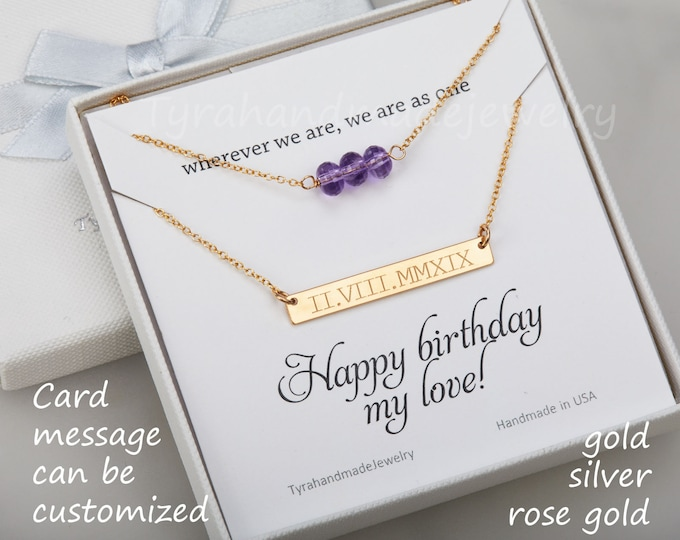Double layer bead bar necklace,custom engraved bar,gemstone bead string,name date location bar,Roman numeral,anniversary gift,birthday gift