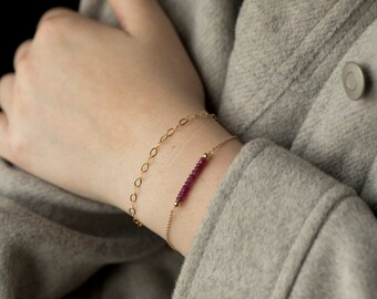 Gemstone bar bracelet,birthstone bar bracelet,circle layering bracelet,Dainty Chain Bracelet ,Delicate Chain ,Layering Bracelet