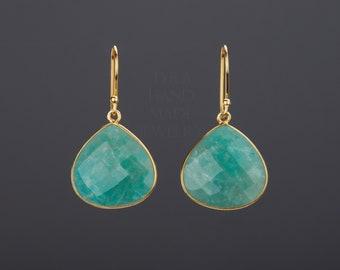 Large amazonite earring,teardrop amazonite earring,Amazon jade earrings,aqua green earring,green dress earrings,birthday gift,mother gift