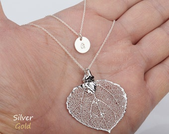 Double layer real leaf initial necklace,baby aspen leaf necklace,stamped monogram tag,anniversary gift,birthday gift,custom jewelry card