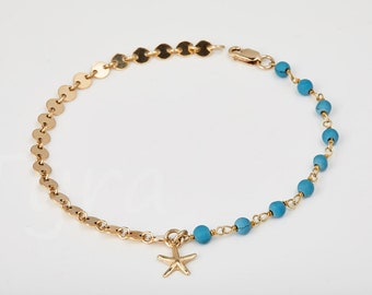 Connector circle chain bracelet,Starfish bracelet,beaded birthstones,Bridesmaid gift,wedding jewelry,ocean beach wedding,custom jewelry note