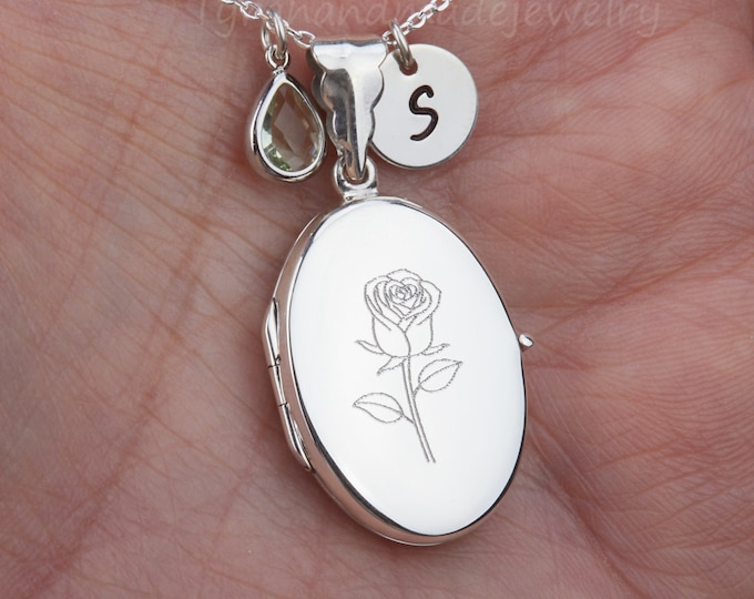 Personalized engraved sterling silver locket necklace,custom quote photo locket,birthstone initial,Memorial locket,Photo locket,