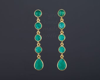 Five tier green onyx earring,Long drop green onyx earring,dangle swing green onyx string,green stone earring,Mother's gift,anniversary gift