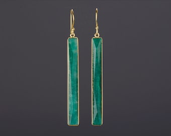 Very Long rectangle emerald earrings,long faceted emerald bar,long dangle drop earring,May birthday gift,mother gift,custom note card
