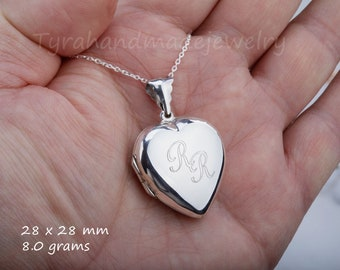 Large sterling silver puff heart locket,large photo locket,,memorial necklace,Name locket,Valentine girlfriend gift,custom note card