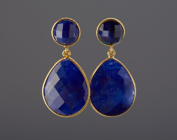 Large sapphire earrings,Two tier sapphire earring,teardrop earrings,Large faceted sapphire earring,September birthday gift,mother gift