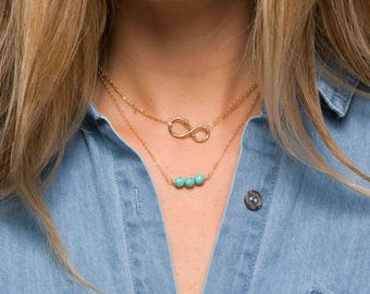 Double layered infinity necklace,Turquoise bead bar choker,hammered infinity,custom birthstone,birthday gift,anniversary gift,friend gift