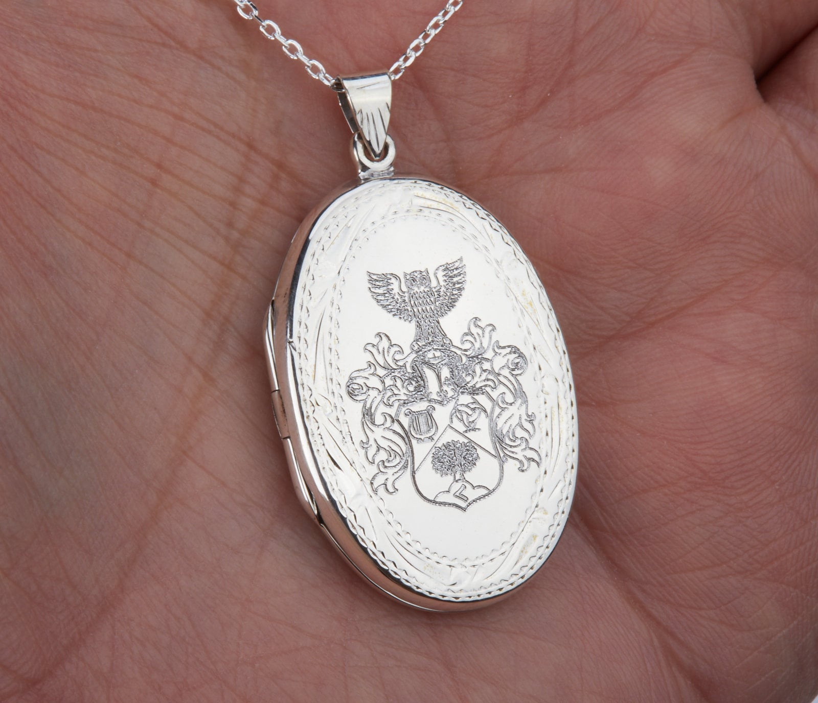 Large  sterling silver oval locket,Engraved locket,Custom quote locket,Name locket,Memory photo locket,Valentine/'s day gift,custom note card