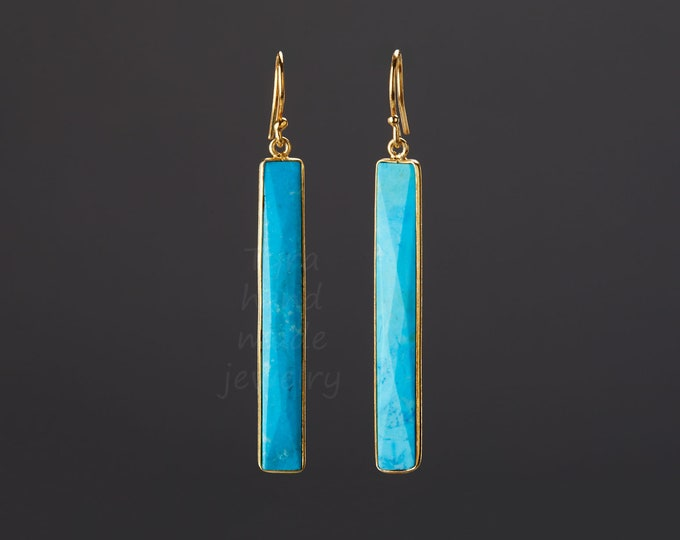 Long bar turquoise earrings,large faceted gemstone earring,long dangle strip earring,December birthday gift,mother gift,custom note card
