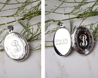 Engraved sterling silver locket,Personalized Locket,etched border,remembrance photo locket,Memory locket,anniversary gift,custom note card