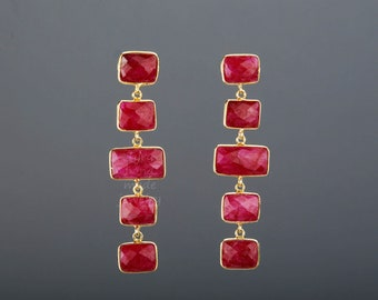 Five tier ruby earrings,long ruby chain earring,square ruby earring,rectangle ruby earring,July birthday gift,mother gift,anniversary gift