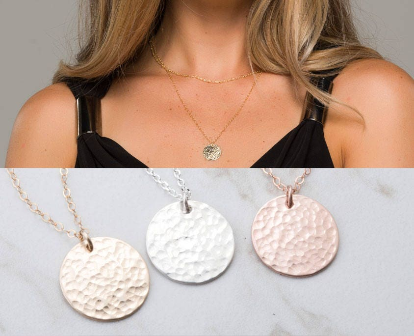 667fb6961a3363 Long Layered hammered karma disc 14k Gold necklace,Hammered disc necklace,  Gold Large round tag .Delicate everyday necklace