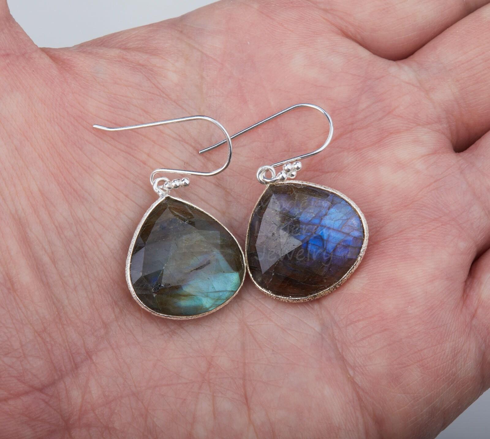 Earring For Her Labradorite Earring Earring For Women| Silver Oxidize Earring Gift For Her Gemstone Earring GFS3160 Brass Earring