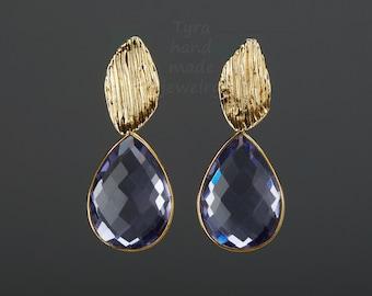 two tier blue quartz earrings,purple gemstone stud earrings in Gold,Large faced amethyst dangle earrings