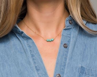 Small Turquoise bar choker necklace, Dainty Choker, Bridesmaid Gift,Turquoise necklace,Gemstone birthstone necklace