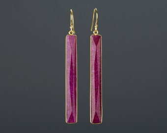 Very Long rectangle ruby earrings,long faceted ruby bar,long ruby bar earring,deep red earring,July birthday gift,mother gift,custom note
