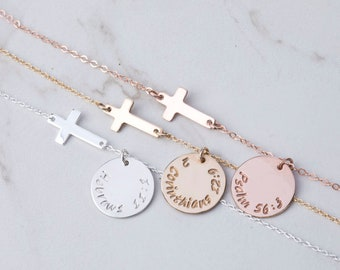 Personalized bible verse cross necklace,hand stamped,Sideways cross,faith necklace,custom note card,confirmation gift,baptism gift,godmother