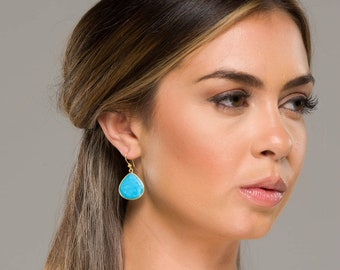 Large turquoise earrings,Large gemstone earring,teardrop earrings,Large faceted turquoise earring,birthday gift,mother gift,custom note card