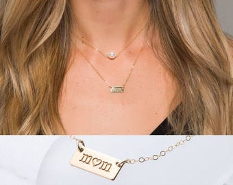 Pearl name tag double layered necklace,hand stamped,custom font monograms,full name short Bar Necklace,personalized note