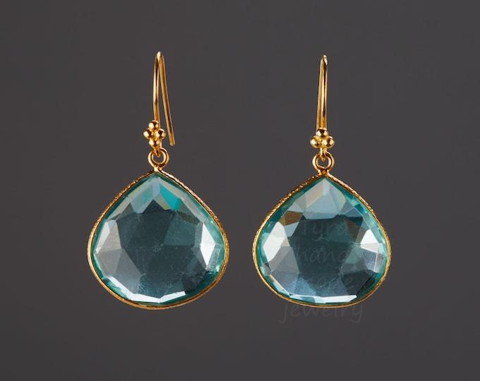 Large Aqua Blue quartz earring,teardrop gmestone earring,real nature stone,Large faceted quartz earrings,anniversary gift,birthday gift