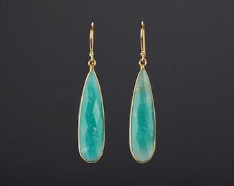 Large amazonite earring,long amazonite earring,Amazon jade earrings,aqua green earring,green dress earrings,birthday gift,mother gift