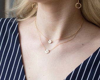 Sale-Double Layered small circle layered initial necklace,Silver or gold or rose gold,double Monogram initials,sister,mother of two,couple