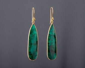 Large emerald earrings,long emerald earring,teardrop earrings,Large faceted emerald earring,birthday gift,mother gift,custom jewelry card