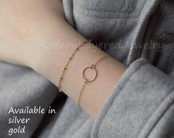 Set of 2, beaded bracelet,Dainty small karma bracelet, Circle Charm Bracelet, Layering Bracelet •sister gifts, gift for mom,best friends