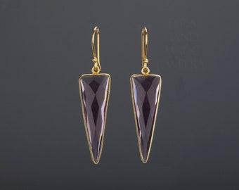 Triangle amethyst earring,long dangle purple quartz earrings,framed faceted amethyst,February birthday gift,Mother gift,Anniversary gift