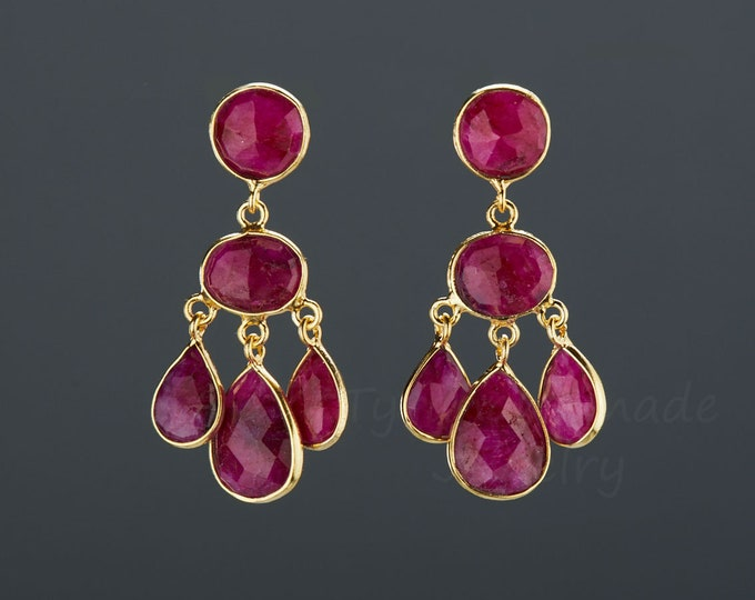 Three tier ruby earring,ruby chandelier dangle earring,framed ruby,gemstone earrings,July birthday gift,mother gift,anniversary gift