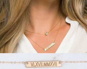 Personalized double layered Tiny dot Bar necklace,Monogram bar,CZ necklace,custom engraved bar,Rectangle bar,birthday gift,best friend