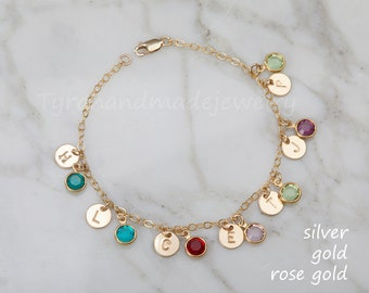 Grandma bracelet,Personalized initial stone bracelet,custom initial birthstone sets.Mother's day gift,Grandmother gift,family kids charms