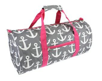 Monogrammed Round Duffle Bag Gray Fuchsia, Gym Bag, Personalized Gym Bag, Duffle  Bag, School Duffle Bag, P.E. Bag, Workout Gear, Exercise efa764b58b