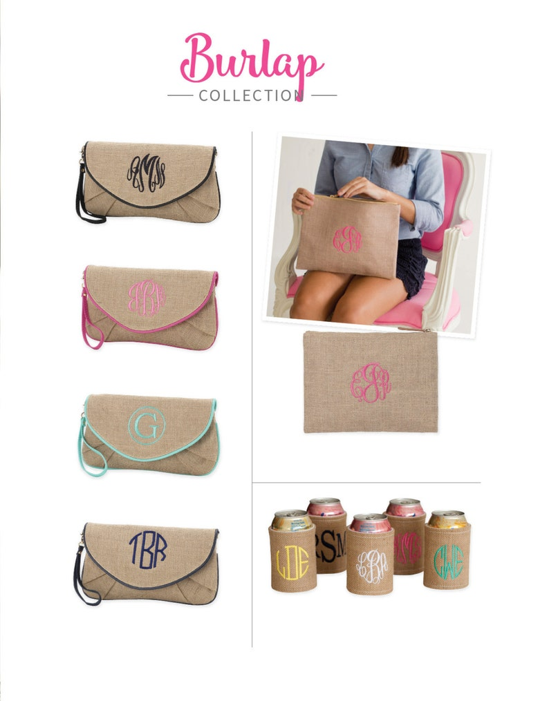 6 Bridesmaid Gift Monogrammed Zip Pouch,beach purse,coin pouch,easy carry pouch,make up case,zip pouch,toiletry case,bridesmaid gift
