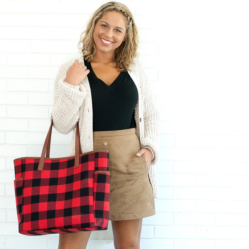 Personalized large purse Monogrammed red buffalo check style Tote Bag Shopping Tote Tote Bag,carry on handbag