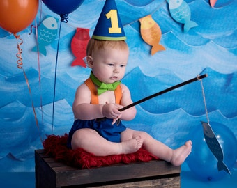 Boy Cake Smash Outfit O Fish Ally One The Big ONE 1st Birthday Set Photography Prop