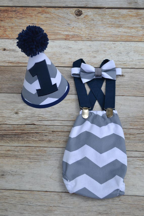 Baby Boys 1st Birthday Cake Smash Outfit Grey And White Chevron.Party PhotoProp