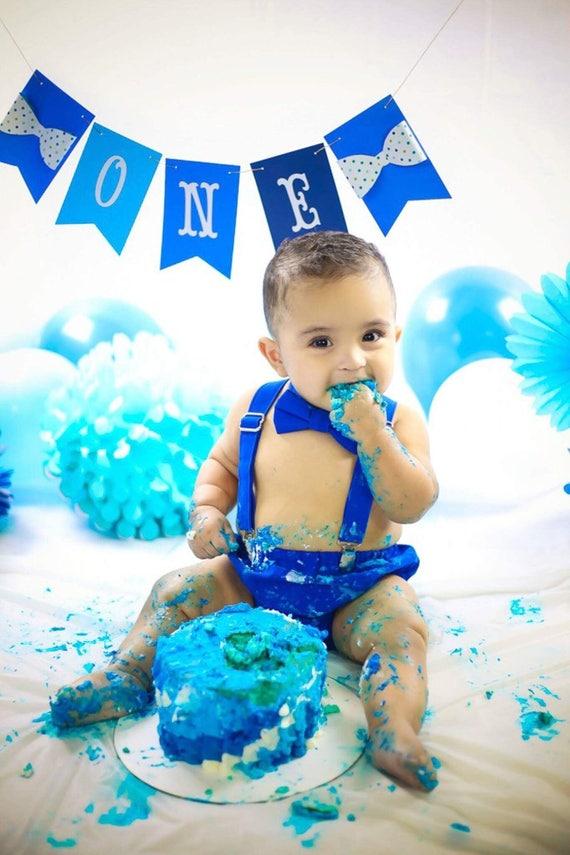 Boy Cake Smash Outfit Blue 1st Birthday