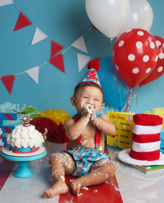 Boy Cake Smash Outfit Dr Suess Cake Smash Cat In The Hat Cake Smash Outfit Boys 1st Birthday Birthday Outfit Boys Birthday