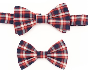 The Langham Bow Tie Set — Dog Bowtie, Brooklyn Bowtied, Blue Plaid, Ring Bearer, Matching Dog and Owner, Human, Wedding, Dog of Honor