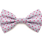 The Clara Bow Tie — Dog Bowtie, Pink, Red, Hearts, Heart, Valentine's Day, Brooklyn Bowtied, Girly Love Hearts