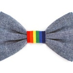 The Sunnyside Bow Tie —Dog Bowtie, Made in Brooklyn, Bowtied, Rainbow, Gay Pride, Chambray, Denim