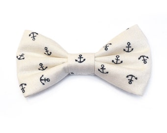 The Allens Bow Tie For Dogs - Dog Bow Tie, Bowtied, Anchor, Nautical, Anchors, White, Navy, Blue, Preppy, Blue