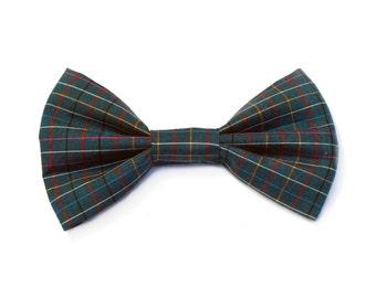 The Longmeadow  Bow Tie — Dog Bowtie, Brooklyn Bowtied, Woven Plaid, Green, Teal, Preppy, Ring Bearer