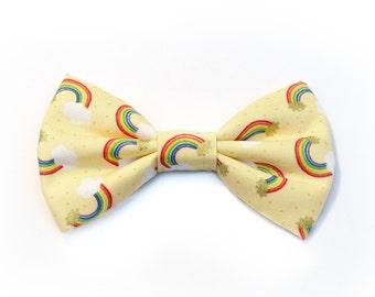 The Leander Bow Tie — Dog Bowtie, Brooklyn Bowtied, Rainbow, Gay Pride, Colorful, Bright, Multicolor, Yellow, Gold Metallic