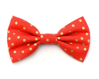 The Emeline Bow Tie —Brooklyn Bowtied, Dog Bow Tie, Polka Dot, Gold, Holiday, Christmas, Red, Wedding Outfit, Bowtie, Gift