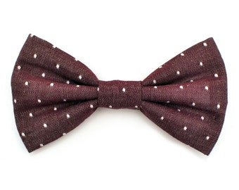 The Benson Bow Tie — Dog Bowtie, Made in Brooklyn, Bowtied, Burgundy, Red, Swiss Dot, Chambray, Polka Dots, Ring Bearer Wedding