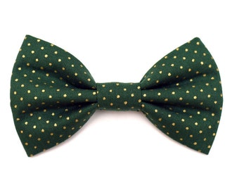 The Conifer Bow Tie —Brooklyn Bowtied, Dog Bow Tie, Polka Dot, Gold, Holiday, Christmas, Hunter Green, Wedding Outfit, Bowtie, Gift