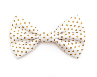 The Livonia Bow Tie — Dog Bowtie, Made in Brooklyn, Bowtied, Dot, Christmas, Holiday, Winter, Present, Gold Polka Dot